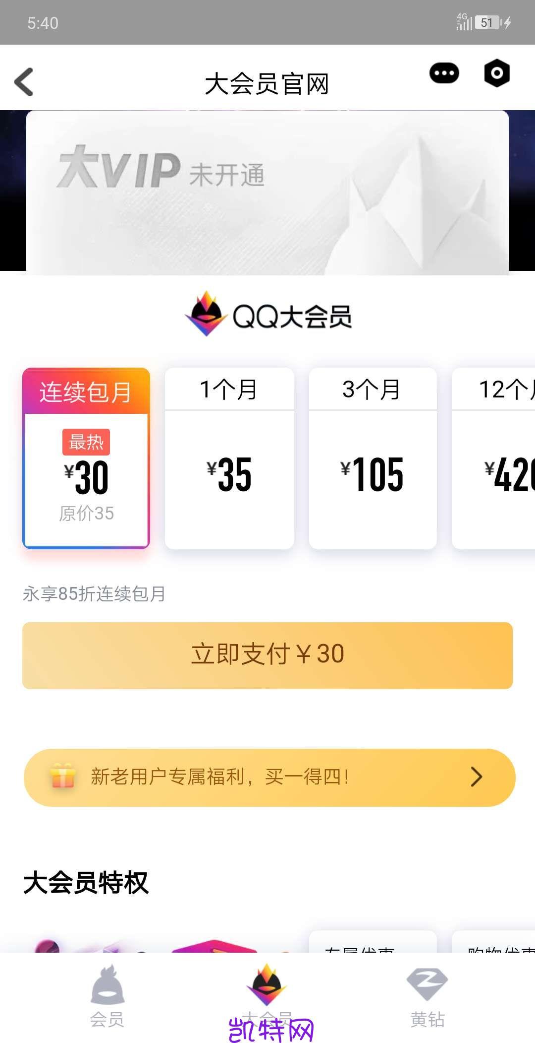【虚拟物品】34元开通QQ大会员